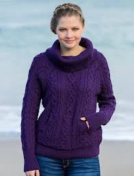 purple sweater cable knit cowl neck sweater cowl neck sweater