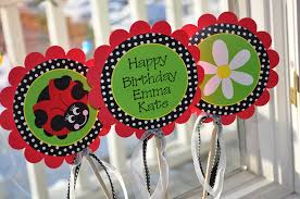 Personalized Party Decorations 3 Ladybug Centerpiece Sticks Girls Birthday Party