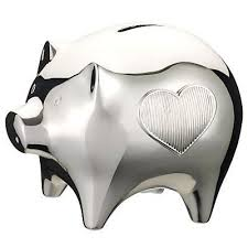 silver piggy bank for baby wedgwood silver plated baby piggy bank by vera wang co uk