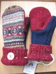 sweater mittens nordic mittens winter white blue 100 wool fur cuffed s