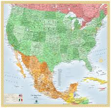 West Coast Map Usa by Usa And Mexico Wall Map Beauteous Map Mexico West Coast