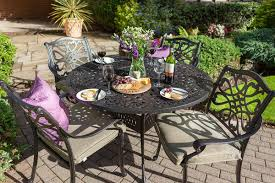 Metal Garden Table Hartman Capri 4 Seat Round Set In Bronze Metal Garden Furniture
