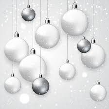 white snowy background with white and silver balls