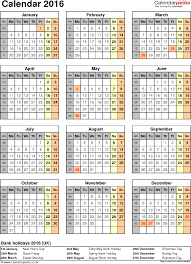 excel calendar 2016 uk 16 printable templates xls xlsx free