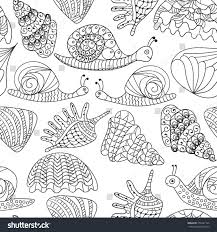 blackwhite graphic sea shells snails isolated stock vector