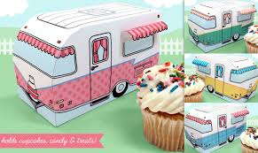 Retro Camper Make A Retro Camper Cupcake Box Treat Or Favor Box Printable Kit