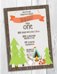woodland themed camping first birthday invitation from