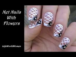 net french nail art tutorial black u0026 white nails with flower