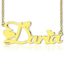 plated name necklace personalized gold fiolex fonts heart name necklace