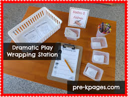 present wrapping station dramatic play wrapping center