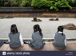 Ryoanji Rock Garden School At Zen Rock Garden Ryoanji Ryoan Ji Temple Kyoto