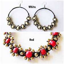 thailand earrings handmade earrings silver beaded with or white flower