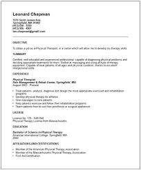 sample physical therapy resume physical therapist assistant