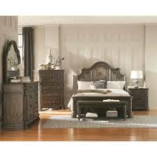 coaster carlsbad panel bedroom set in dark brown u0026 wire brush