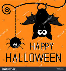 cute bat hanging spider happy halloween stock vector 158389091