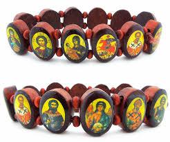 saints bracelet expandable wooden icon bracelet oval shape at holy store