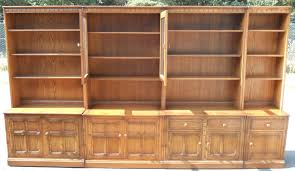 Ercol Bookcase Large Elm Sectional Library Bookcase By Ercol