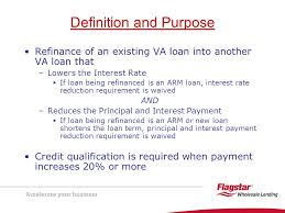 va arm loan presenting va interest rate reduction refinancing loans irrrls