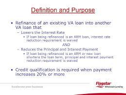 va arm loan presenting va interest rate reduction refinancing loans irrrls