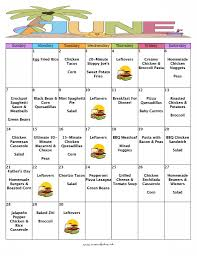 Menu Planner With Grocery List Template A Month Of Meals On A Budget June 2015 No Repeat Meal Plan 30