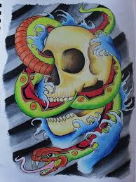 japanese style skull and snake tattoo design by ifinch on deviantart