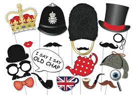 british photo booth party props set 20 piece printable