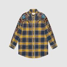 embroidered plaid oversize shirt women u0027s tops u0026 shirts