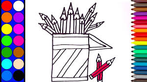 how to draw pencil holder coloring page colouring pencil holder
