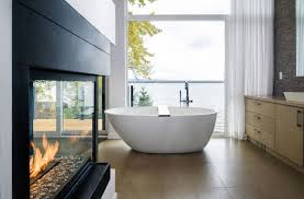 bathroom river views fireplace riverside home in ottawa canada