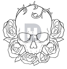 how to draw a skull and roses tattoo step by step drawing guide
