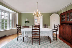 Contemporary Dining Room Bay Window Royalty Free Stock Image - Dining room with bay window