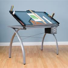 Drafting Craft Table Studio Designs Futura Silver Blue Glass Drafting Table Free