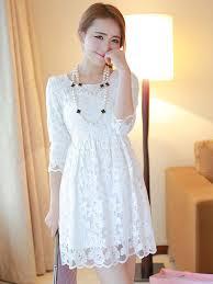milanoo robe de mariã e charming white crewneck embroidered lace mini dress for
