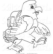 clip art of a coloring page of a bald eagle hawk or falcon hiking