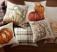 Pottery Barn Fall Decor Ideas Applique Pumpkin Pillow Covers Pottery Barn Pillows