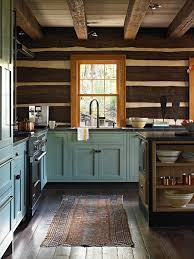 blue kitchen cabinets in cabin stuck with a rustic home and i it laurel home