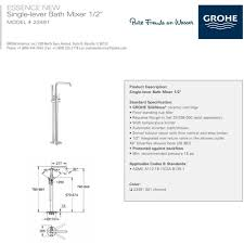 grohe 23491001 essence polished chrome freestanding tub only
