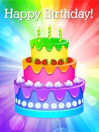 rainbow birthday cake card birthday greeting cards by davia