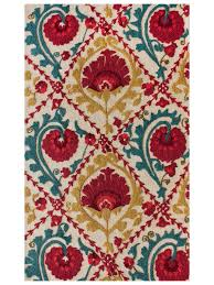 seville hand tufted rug in mustard turquoise and red some of my