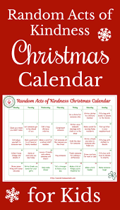 random acts kindness christmas calendar for kids