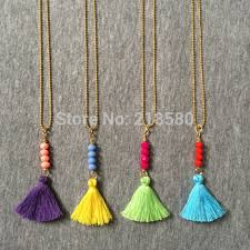 tassel necklace bead images N15052004 boho necklce colorful small tassel necklace beads bar jpg