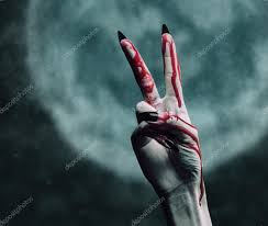 halloween blood background vampire bloody hand with gesture peace sign u2014 stock photo