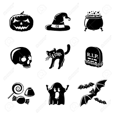 black and white halloween pumpkin clipart halloween silhouette icons vector image 1483369 stockunlimited 6