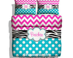 Turquoise Chevron Bedding Chevron And Zebra Personalized Bedding With Shams