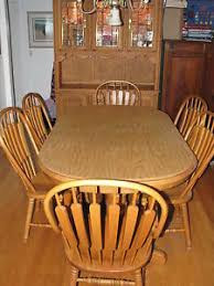 Richardson Brothers Dining Room Oak Hutch  Table W Chairs - Oak dining room sets with hutch
