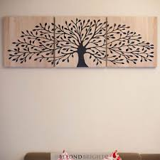 tree of wooden timber carved wall blck mangowood carving
