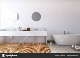 Bad Holzboden Rendering Weißen Minimal Toilette Und Badezimmer Mit Holzboden
