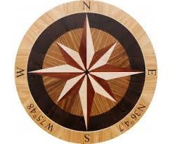 wood compass wall hardwood floor medallions inlays compass