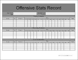 Stat Sheet Template Free Basic Football Offensive Statistics Form