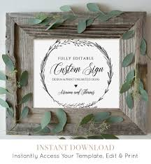 Wedding Signs Template Wedding Sign Template Create U0026 Customize Unlimited Signs 100